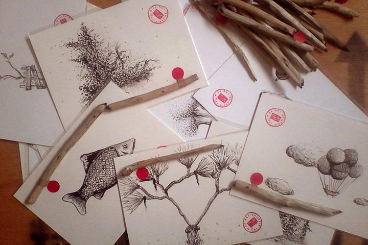 Dibujo con tinta y ramas
